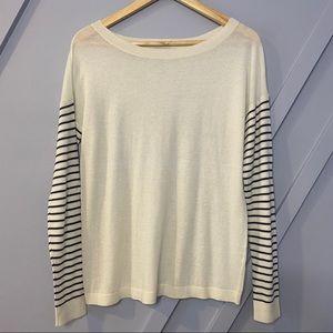 Halogen stripe long sleeve crew neck sweater light